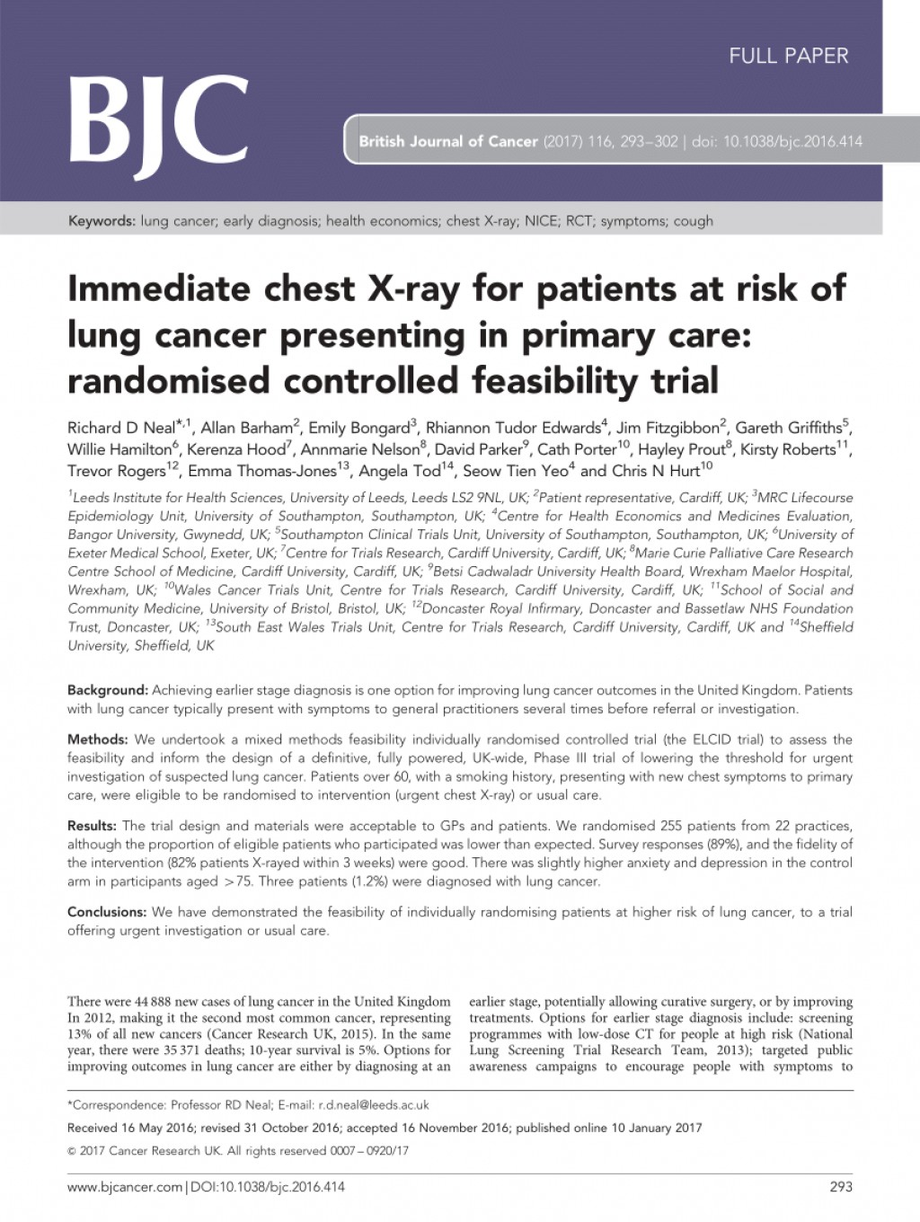 010 Lung Cancer Research Paper Conclusion Unusual Large