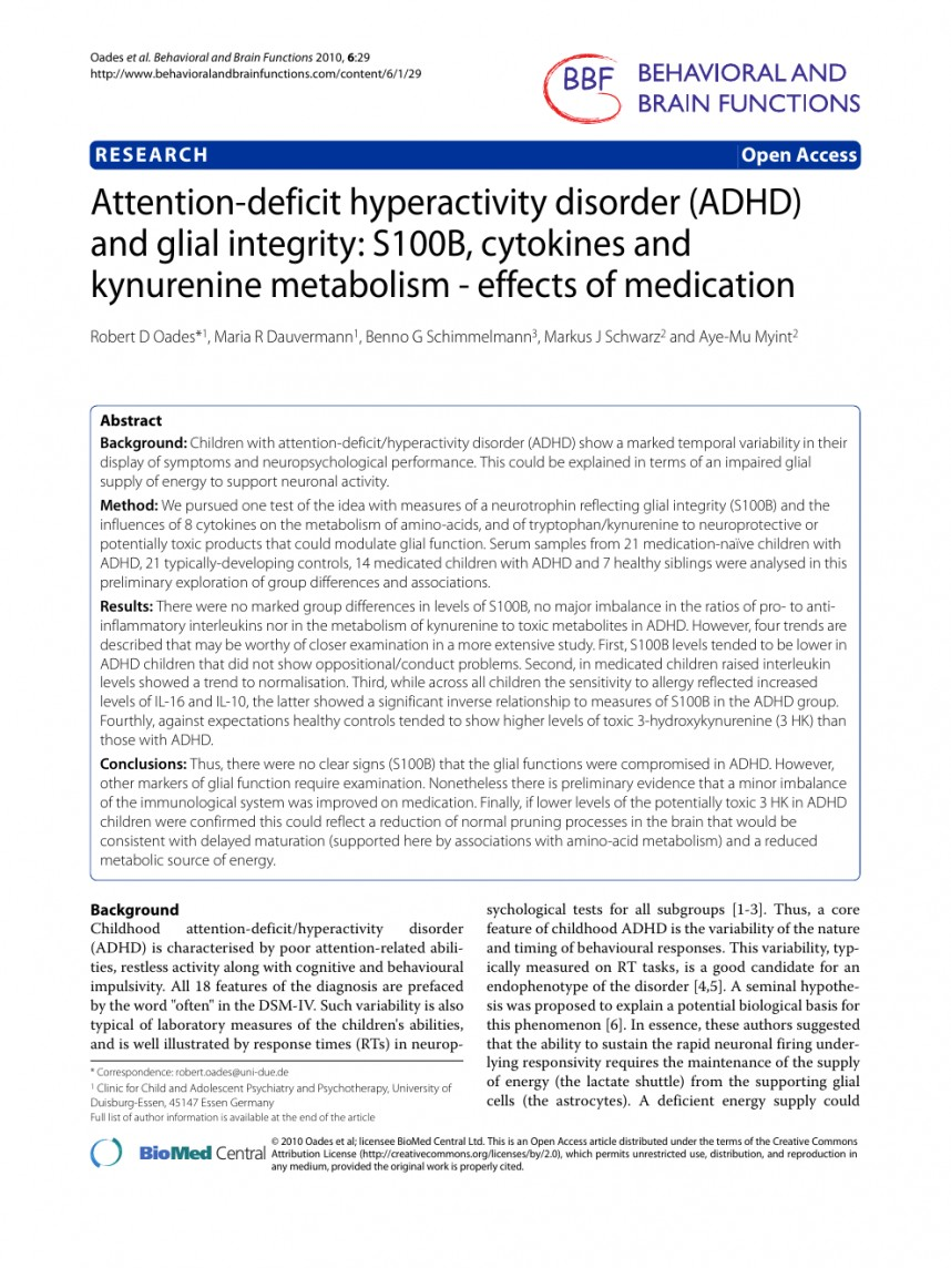 010 Research Paper Adhd Papers Fearsome Free