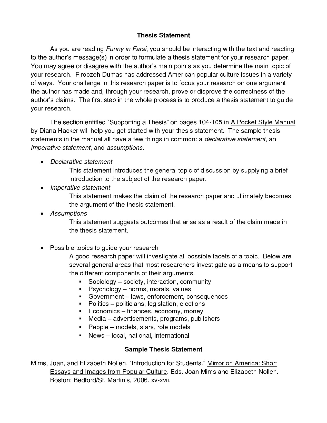 010 Research Paper An Example Of Thesis Statement Essay Template Inspiration Statements Formentative Essays Inside General Fantastic A Full