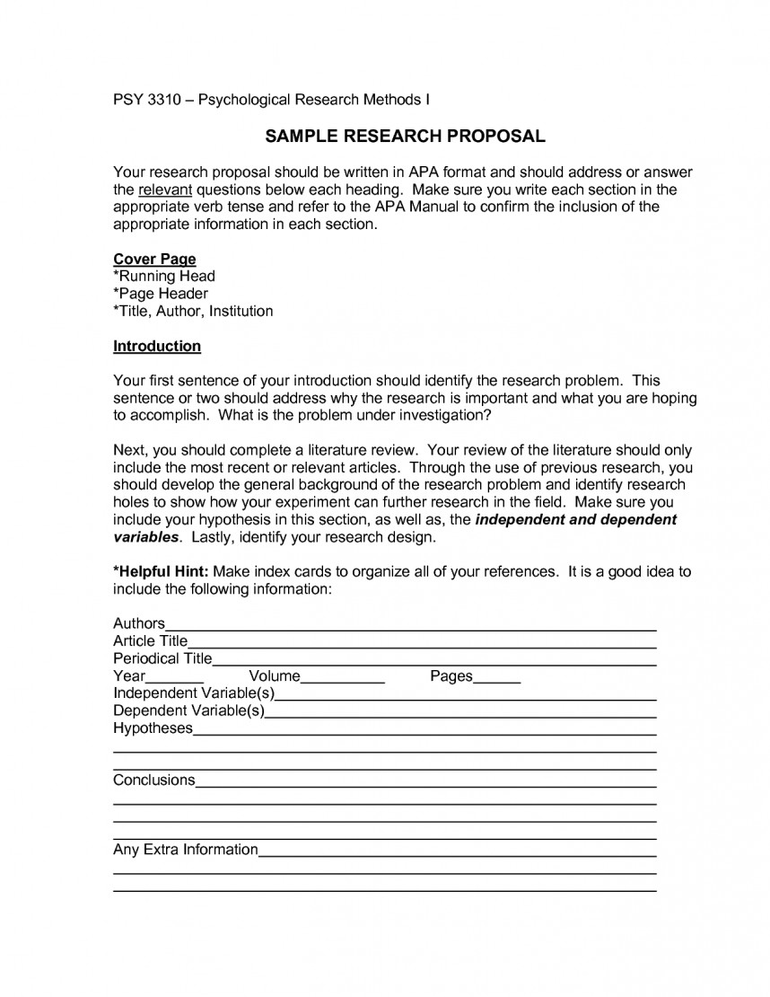 010 Research Paper Apa Format For Proposal Template Best Style With Sample Essay Writing Psychology Of