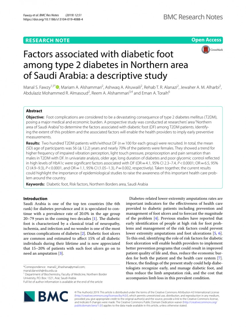 010 Research Paper Diabetic Foot Papers Excellent Ulcers