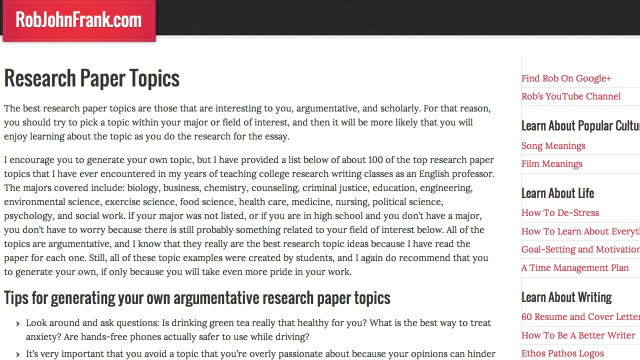 010 Research Paper Good Easy Topics For Magnificent A Science Papers Argumentative Biology Full