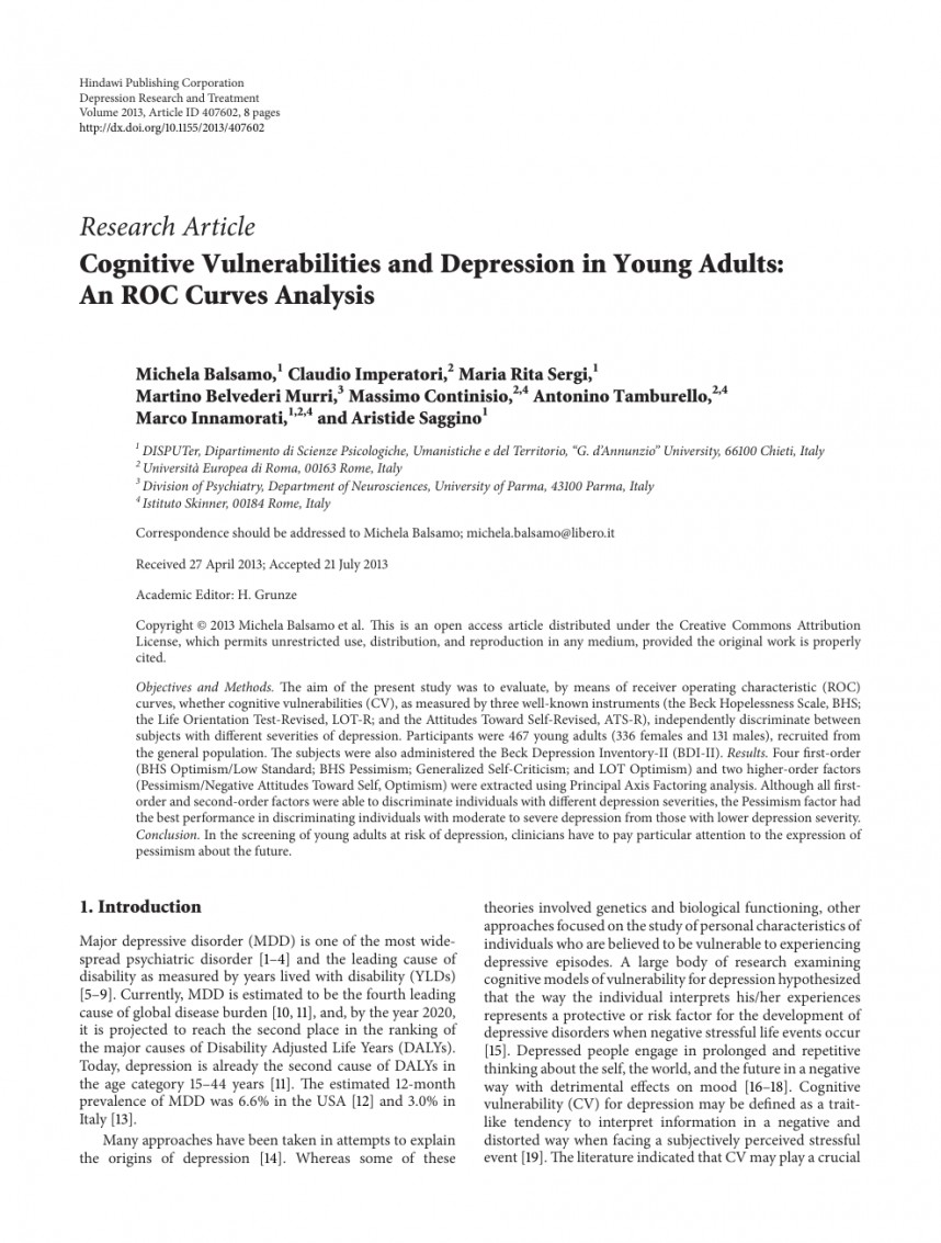 010 Research Paper Introduction To Stunning Depression
