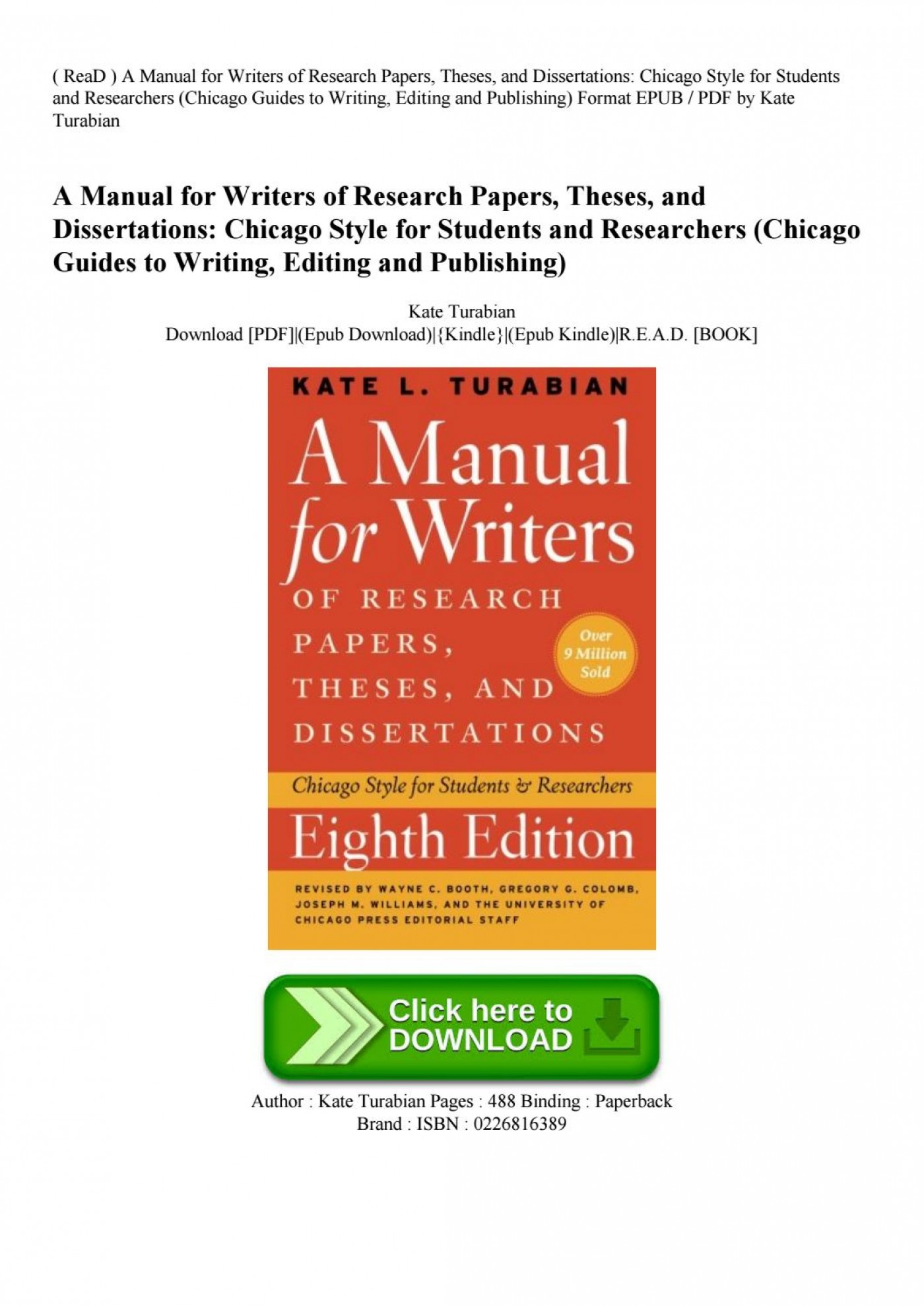 010 Research Paper Manual For Writers Of Papers Theses And Dissertations Page 1 Sensational A Ed. 8 8th Edition Ninth Pdf 1400