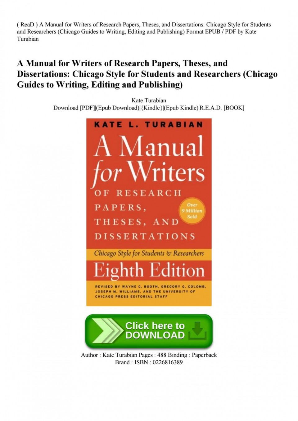 010 Research Paper Manual For Writers Of Papers Theses And Dissertations Page 1 Sensational A Ed. 8 8th Edition Ninth Pdf 960