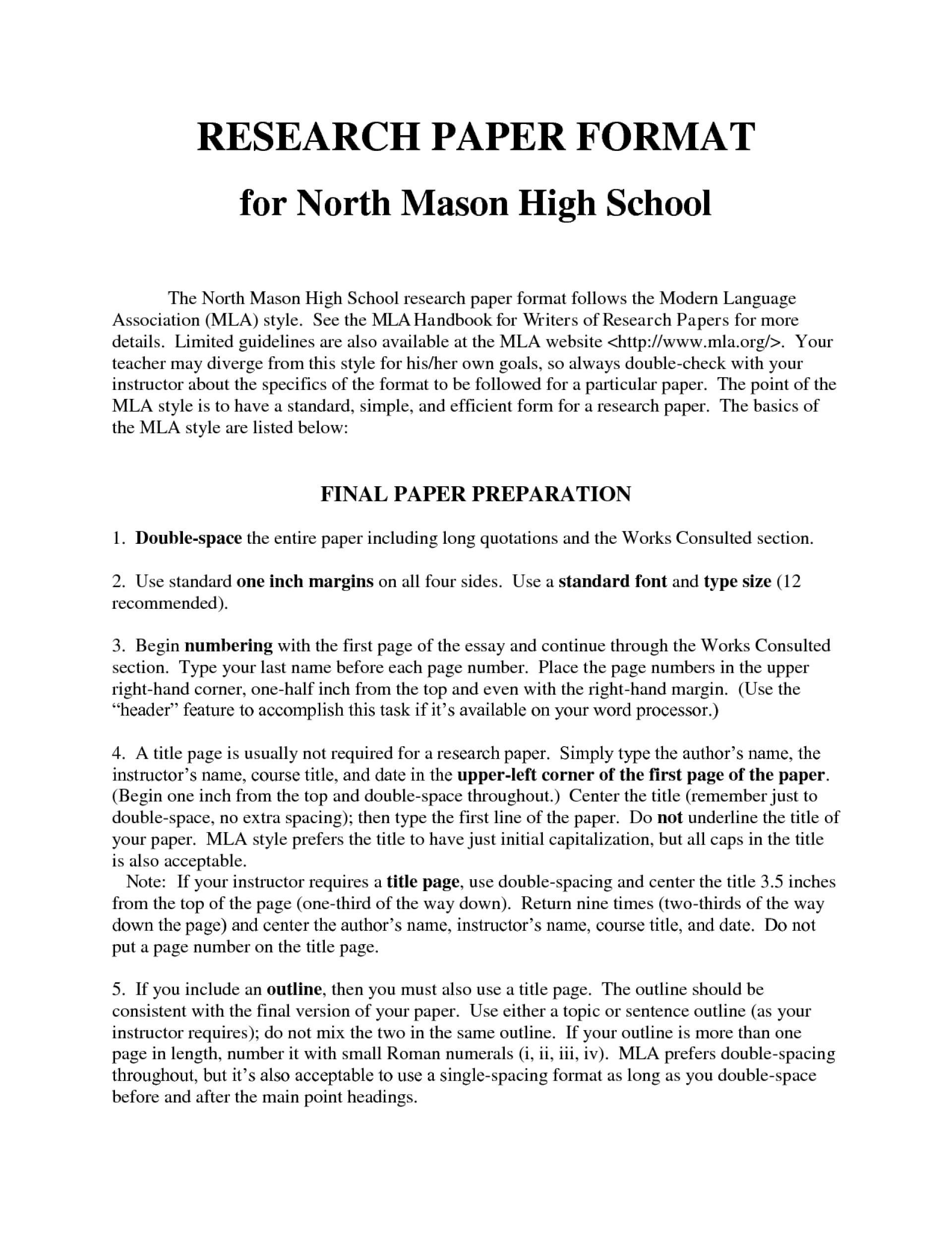 010 Research Paper N7ievzppvr High School Example Excellent Mla 1920