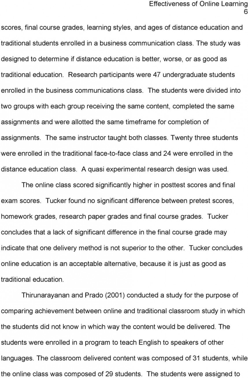 010 Research Paper Page 6 Effectiveness Of Online Amazing Education
