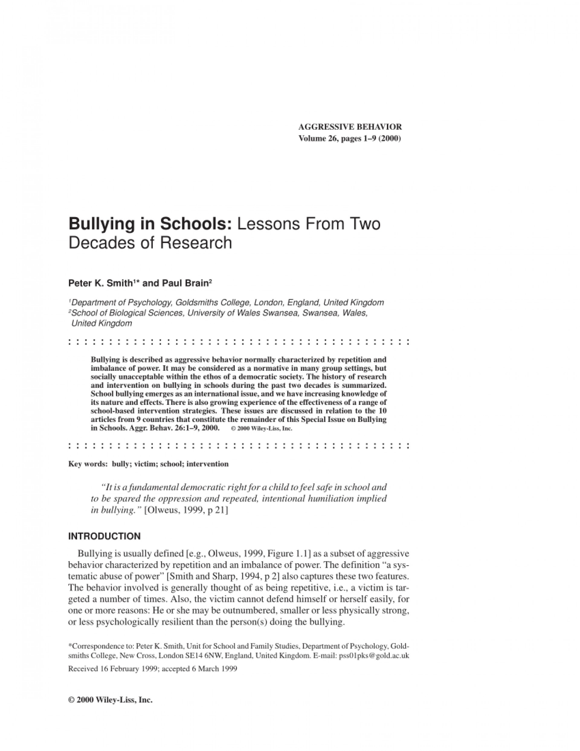 010 Research Paper Psychological Effects Of Bullying Breathtaking 1920