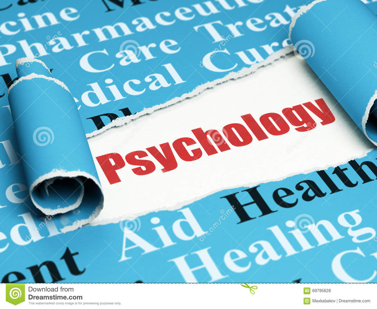 010 Research Paper Psychology On Dreams Health Concept Red Text Under Piece Torn Curled Blue Tag Cloud Rendering Singular Full