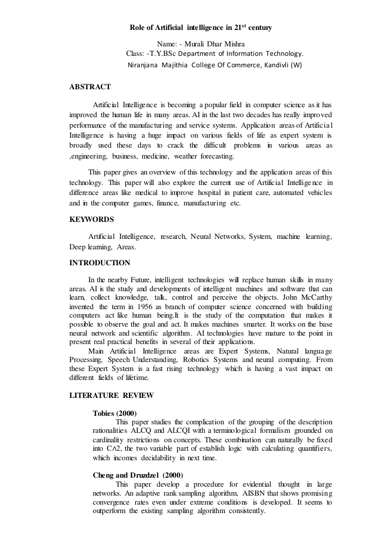 011 Artificial Intelligence Research Papers Paper Roleofartificialintelligencein21stcentury Thumbnail Unique 2017 Ideas Full
