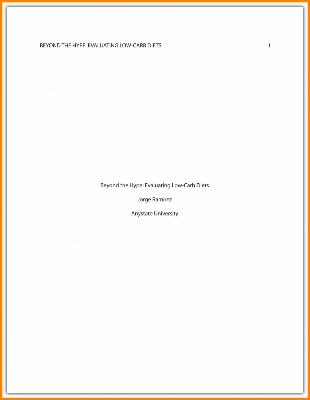 011 Asa Format Research Paper Example Sample Cover Page Apa Singular Large