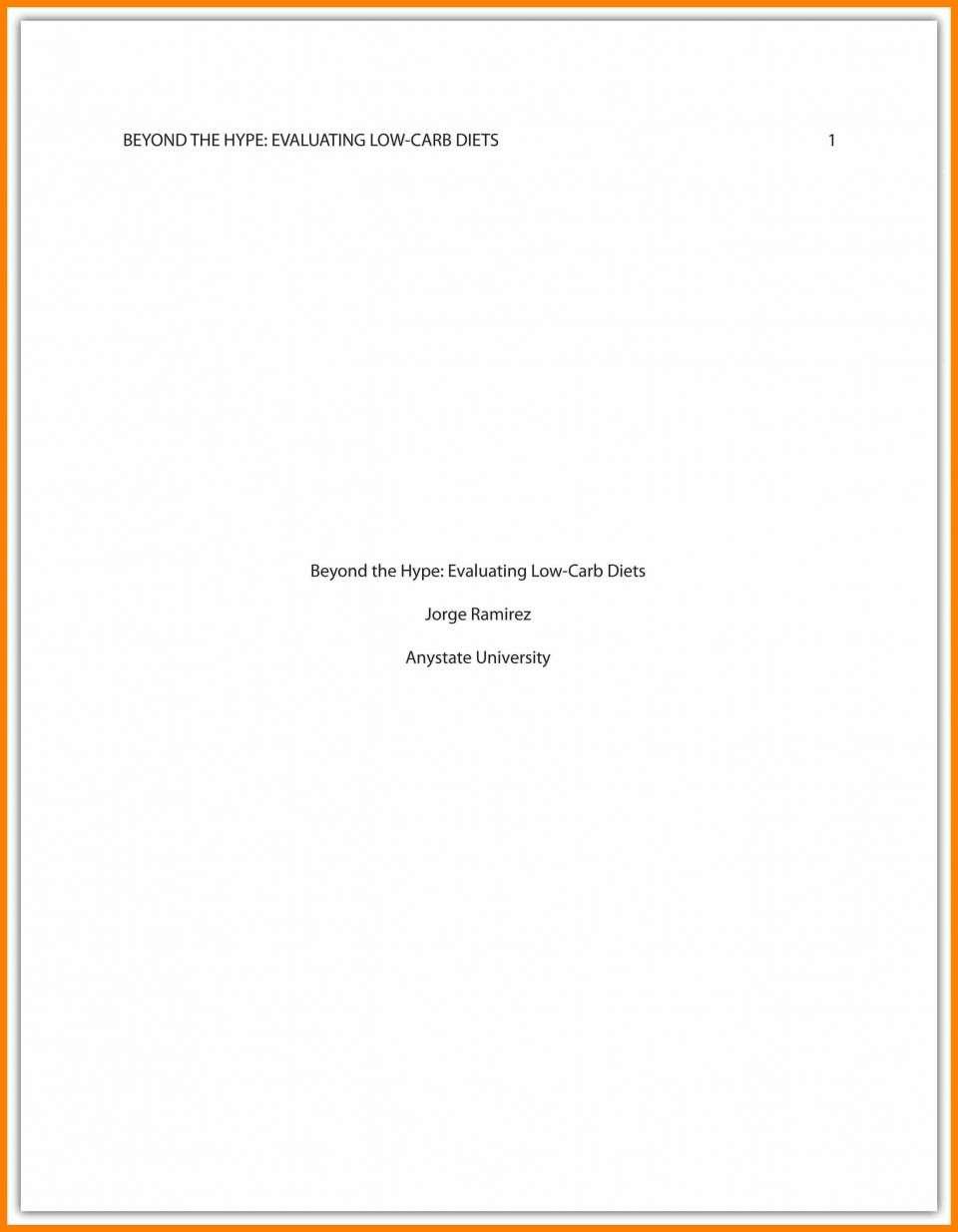 011 Asa Format Research Paper Example Sample Cover Page Apa Singular 960