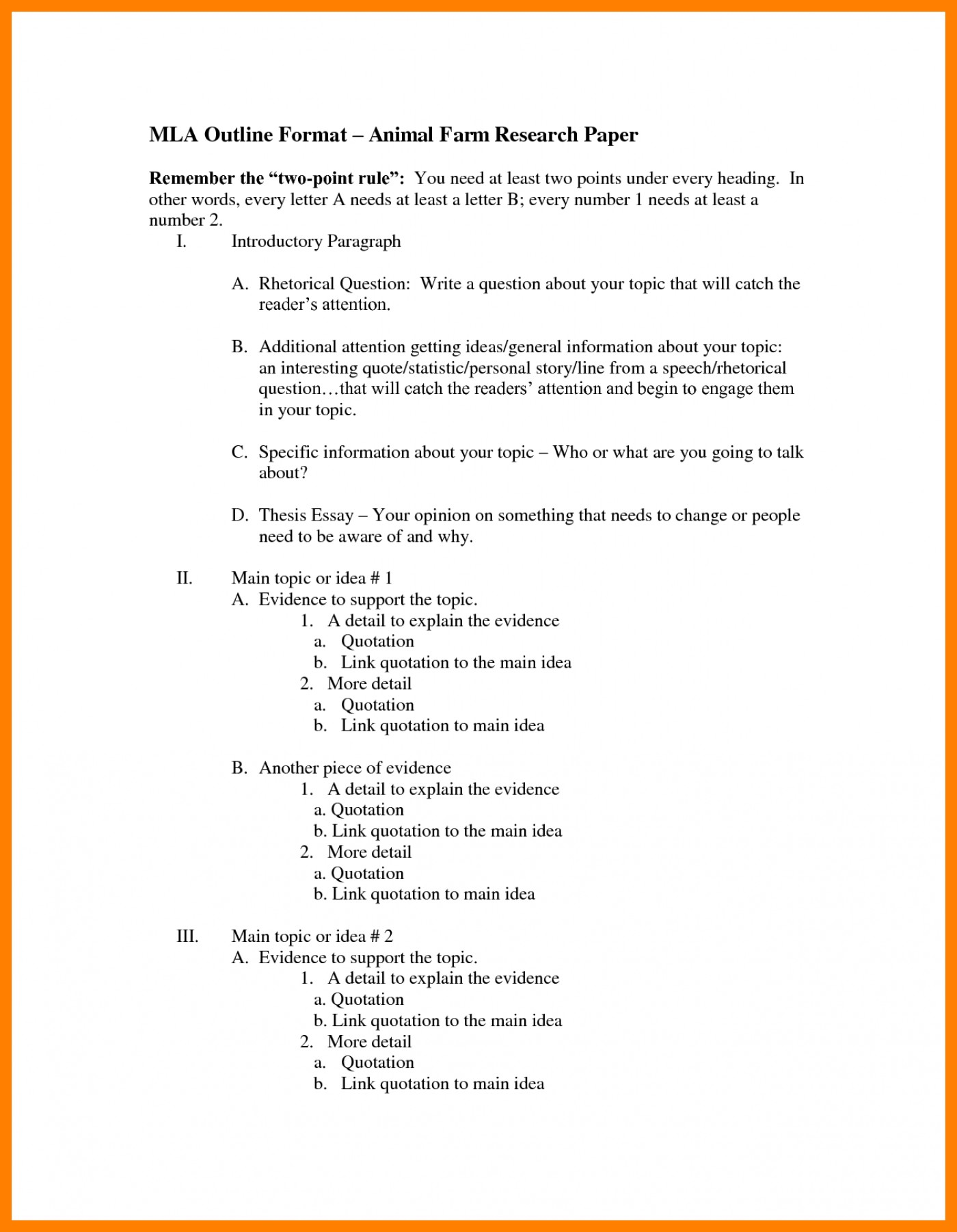Conditons and materials for essay