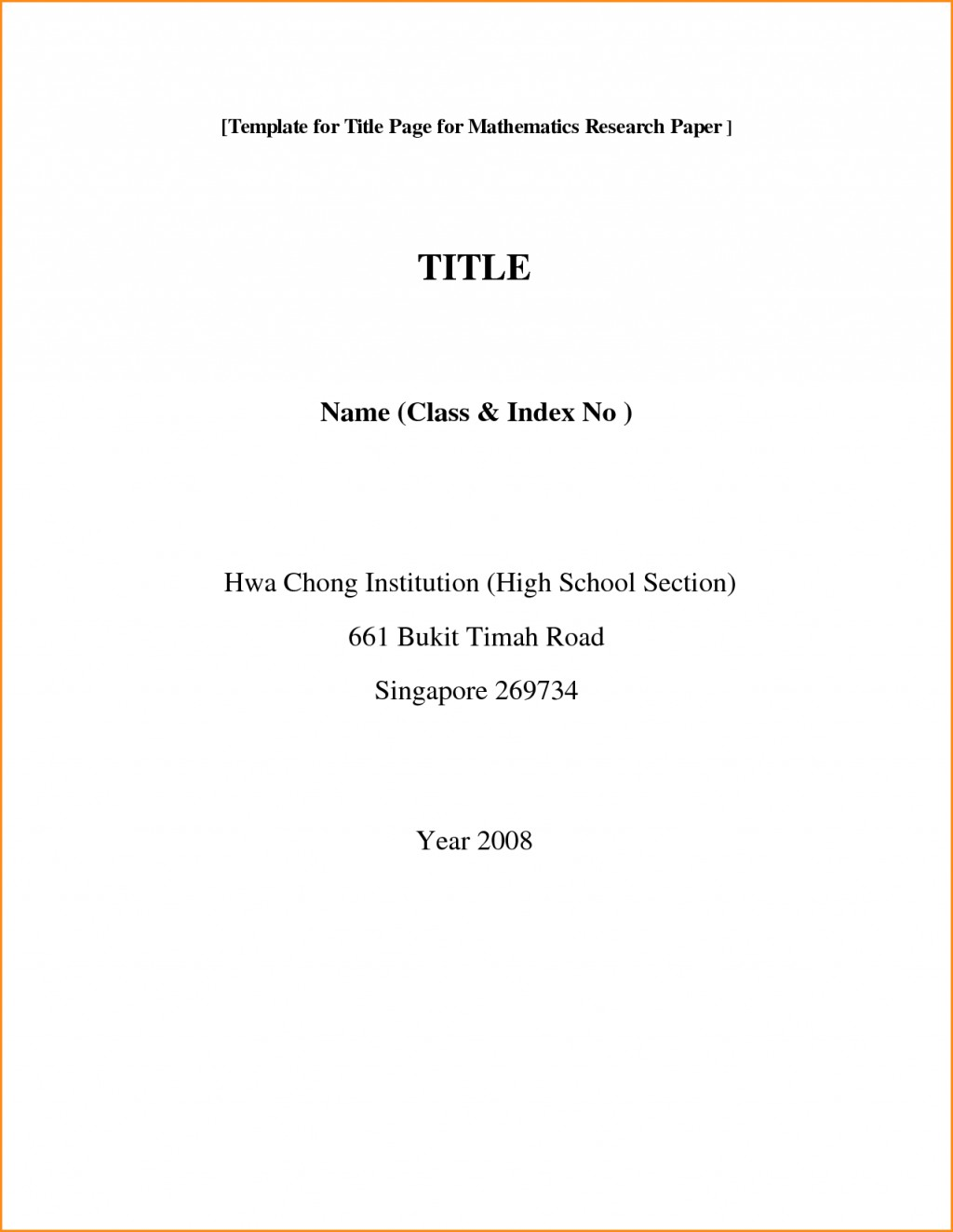 Cover Page Of Research Paper