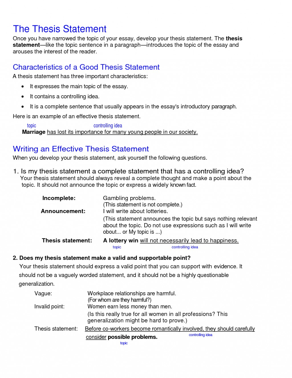 011 College Research Paper Thesis Statement Examples Stupendous Large