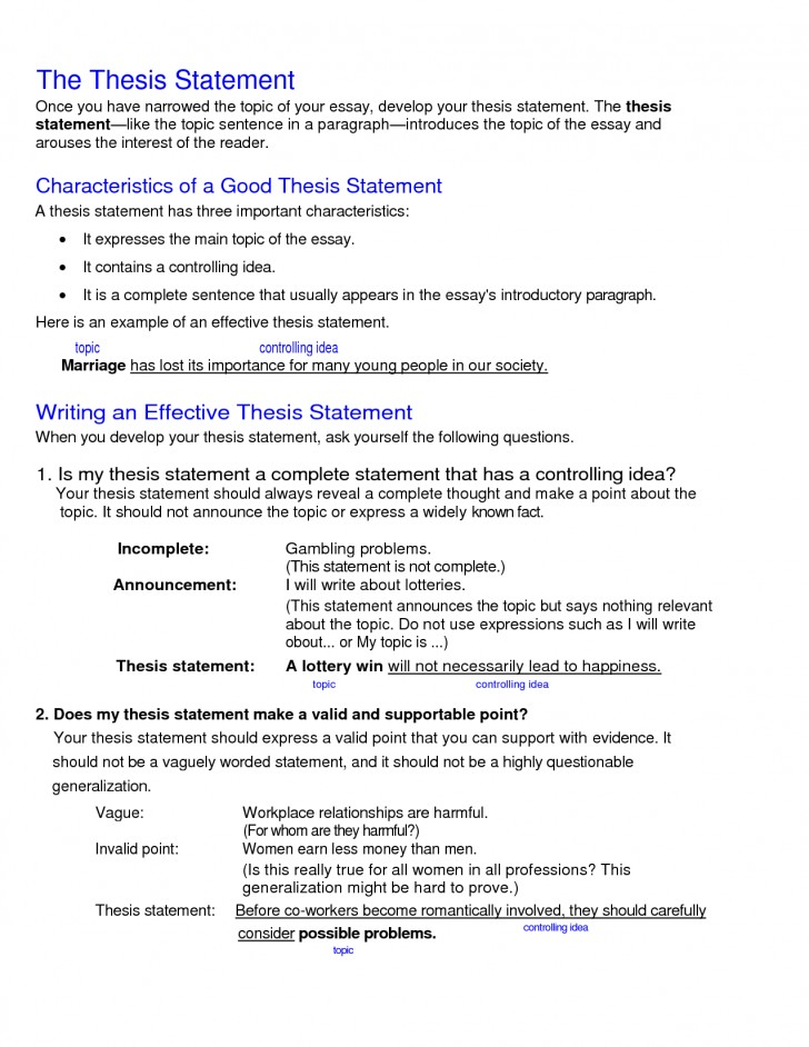 011 College Research Paper Thesis Statement Examples Stupendous 728