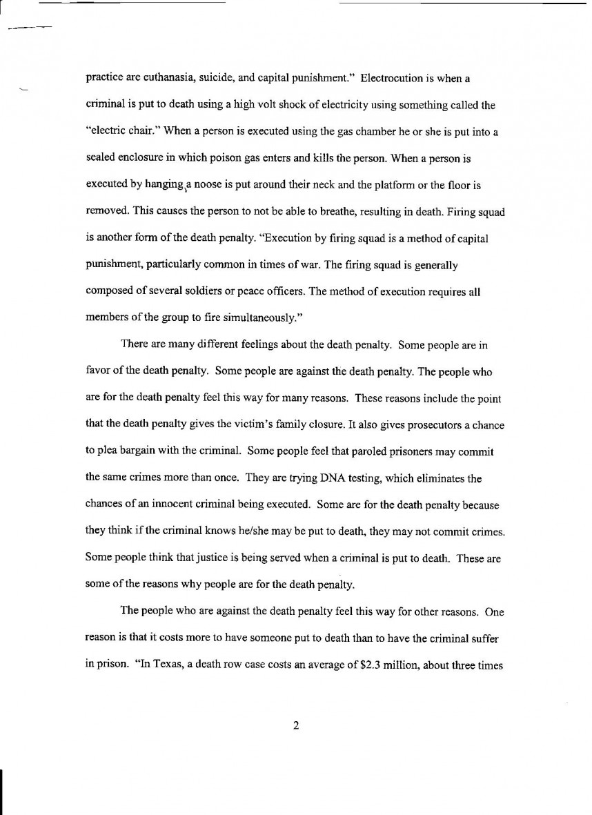 011 Death Penalty Research Paper Thesis Statement Pg Astounding