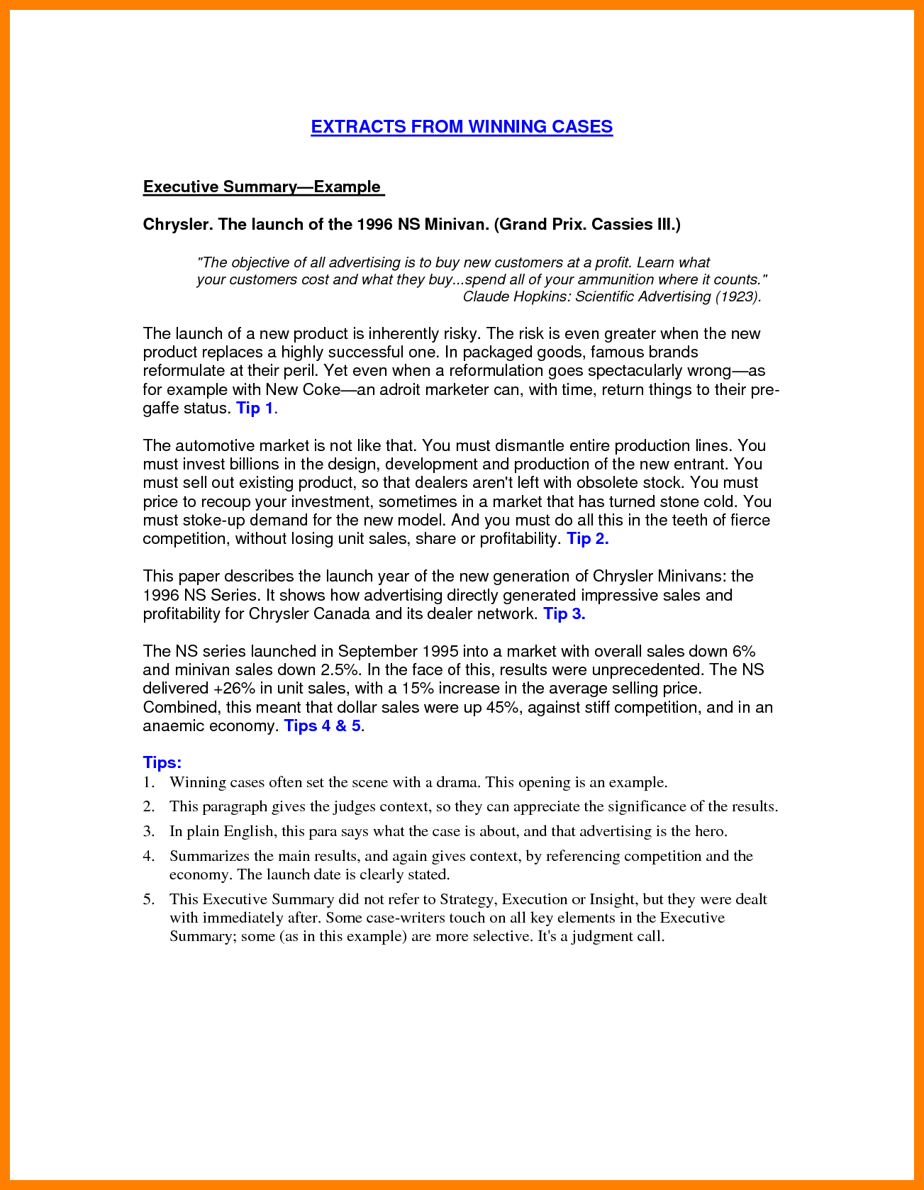 011 Executive Summary Examples How To Write Good Resume Proposal