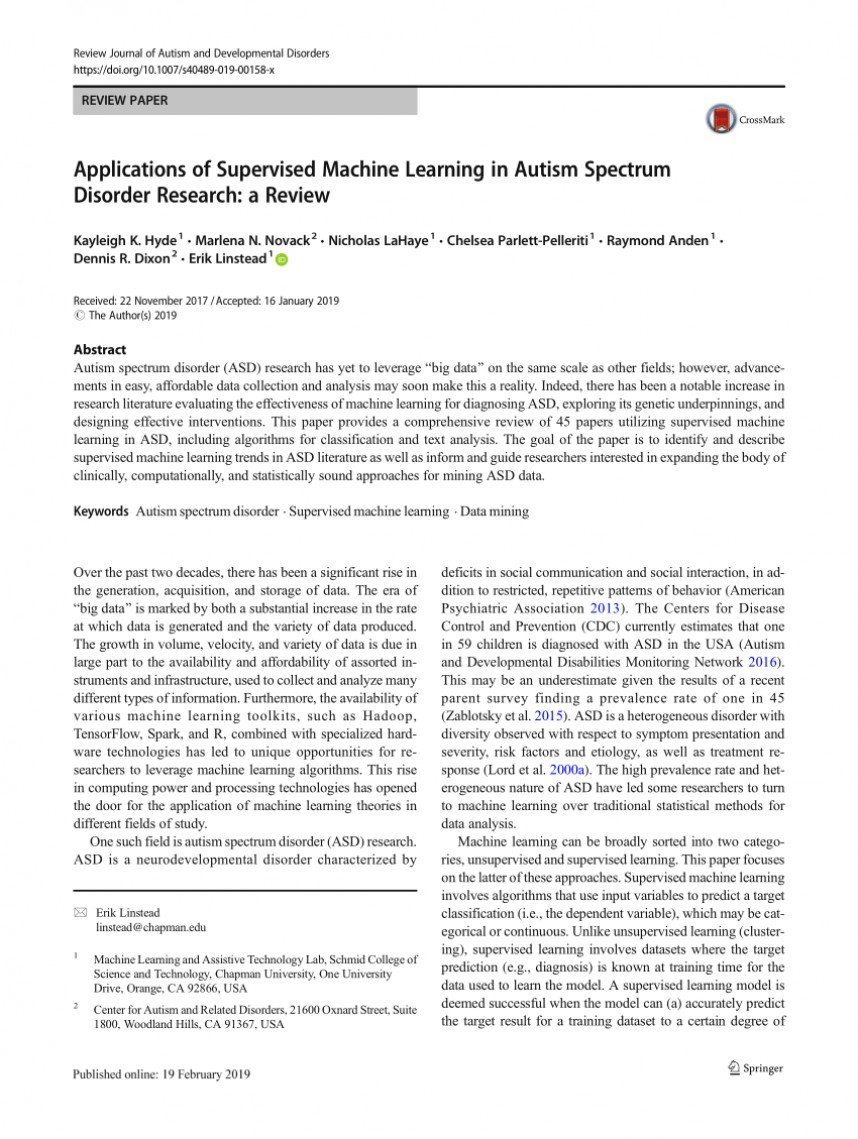 Research paper autism spectrum disorder
