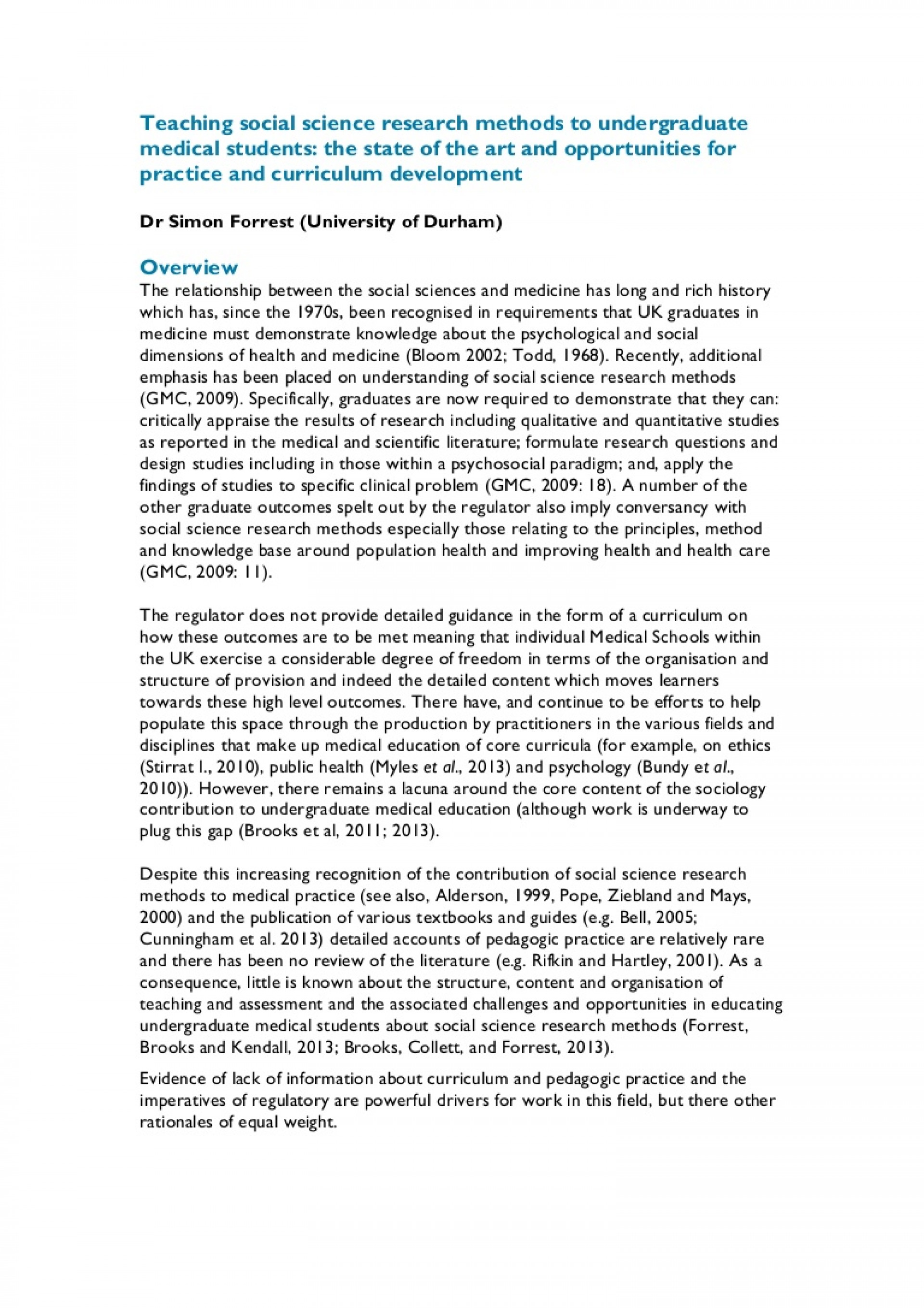 Sections of a social science research paper