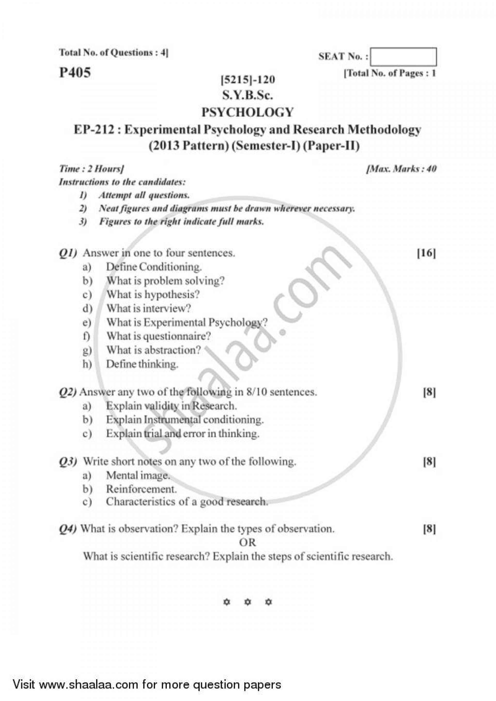 011 Questions For Research Paper University Of Pune Bachelor Bsc Experimental Psychology Methodology Semester Sybsc Pattern 20a139127c9aa4d488dbfc2180e67df98 Formidable Defense Inquiry 1920