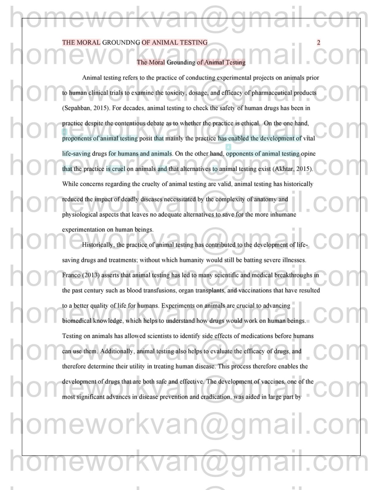 011 Research Paper Animal Testing Example Homeworkvan2bessay Archaicawful Full