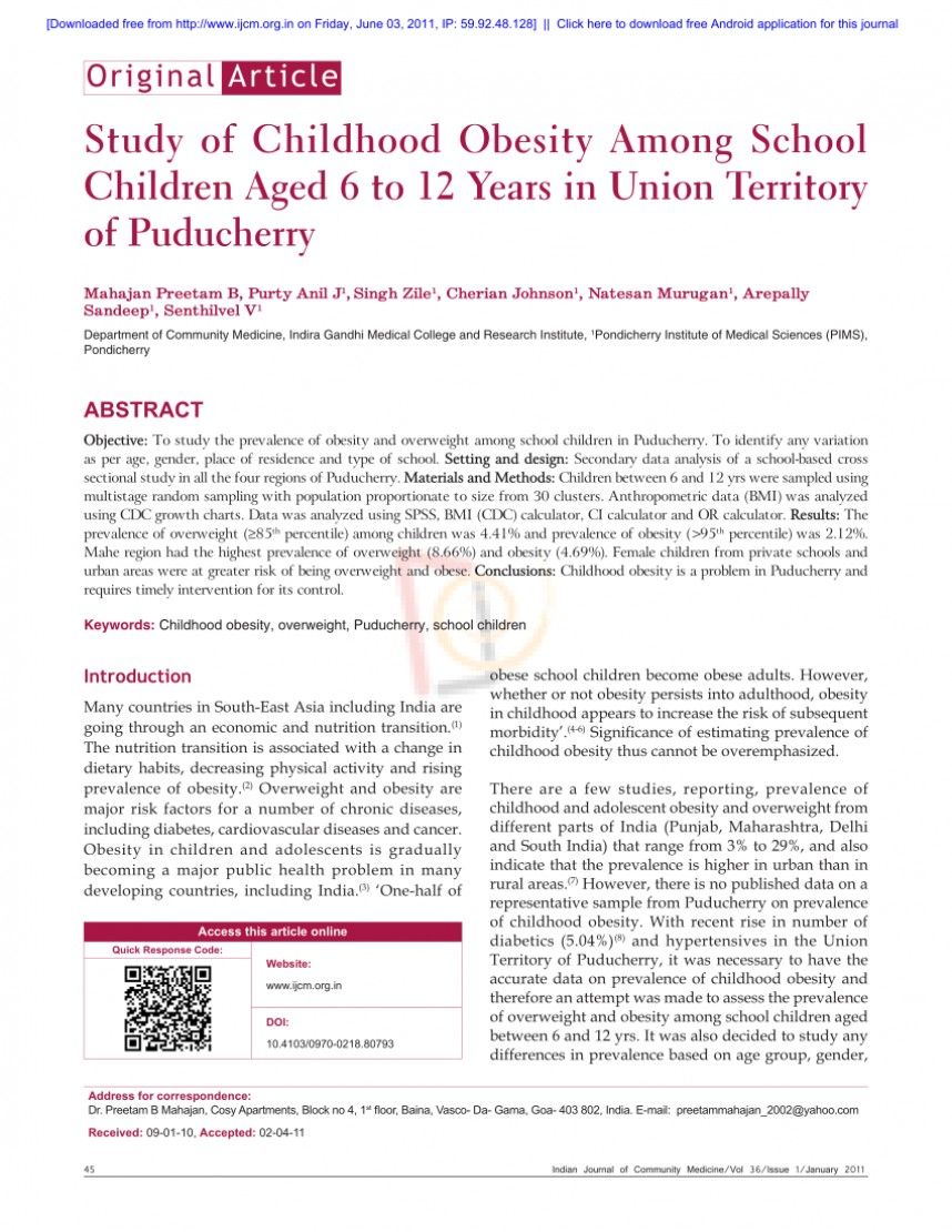 011 Research Paper Childhood Obesity Thesis Amazing Statement