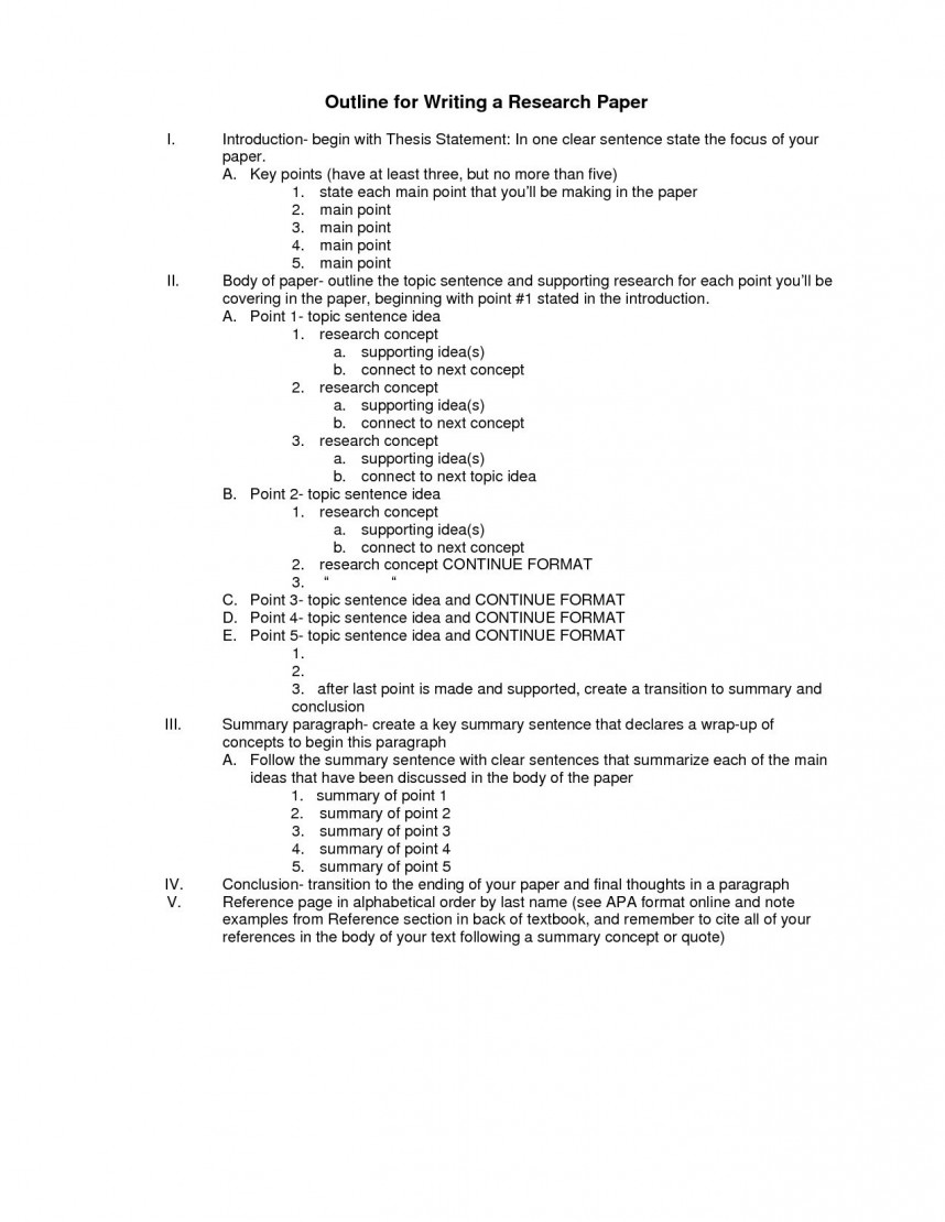 011 Research Paper Formal Outline Format For Wondrous A Template