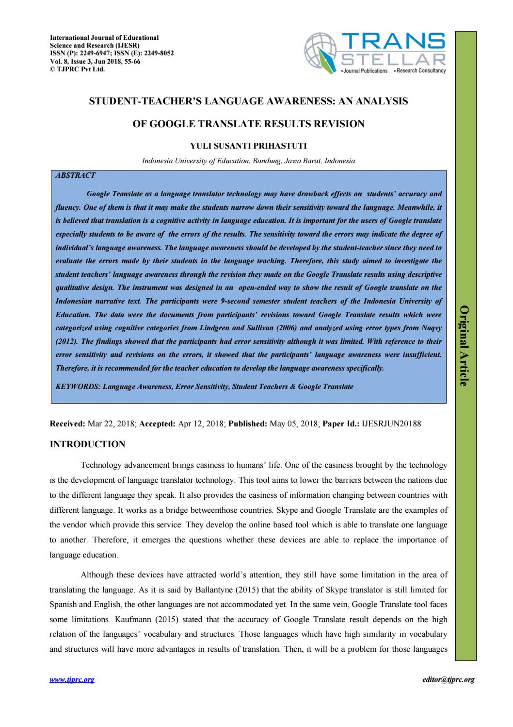 011 Research Paper Google Translate Papers Page 1 Fascinating Full