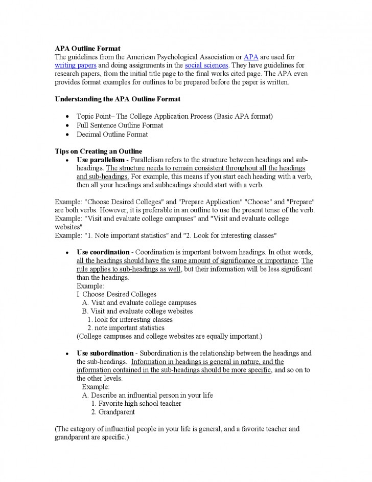 011 Research Paper Psychology College Outline Rare 728
