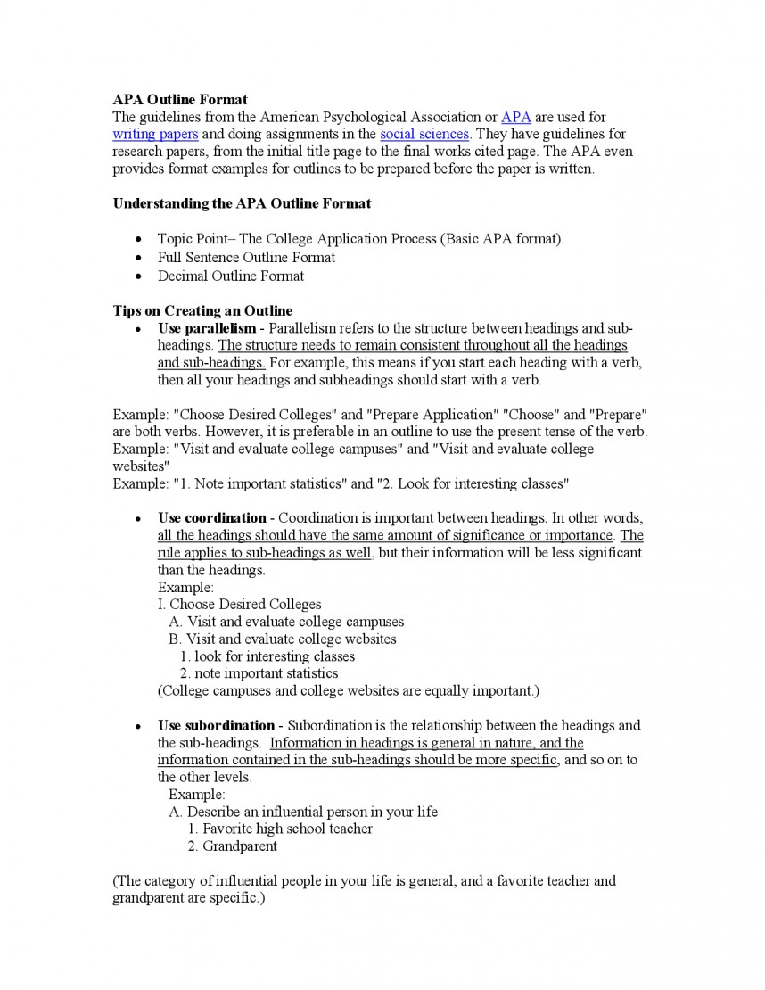 011 Research Paper Psychology College Outline Rare 868