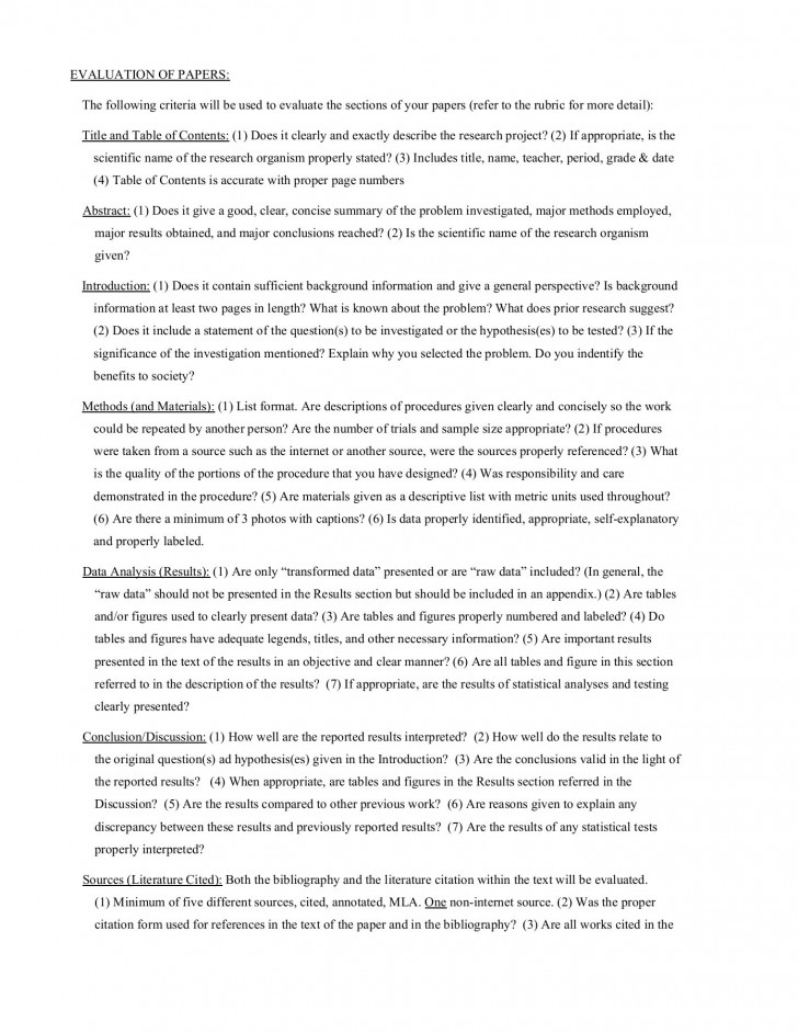 011 Science Fair Research Stunning Paper Example High School Middle 728