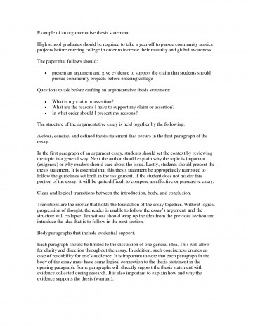 012 Argumentative Thesis Statement For Research Paper Amazing How To Write A An 360