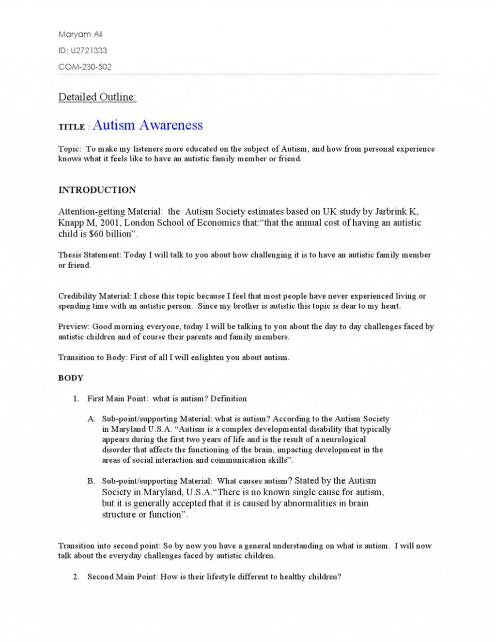 012 Autism Research Paper Thesis Statements Page 1 Awful Large