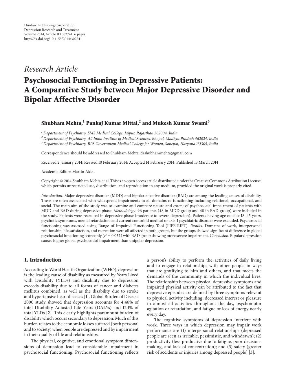 012 Bipolar Disorder Research Paper Rare Introduction Full