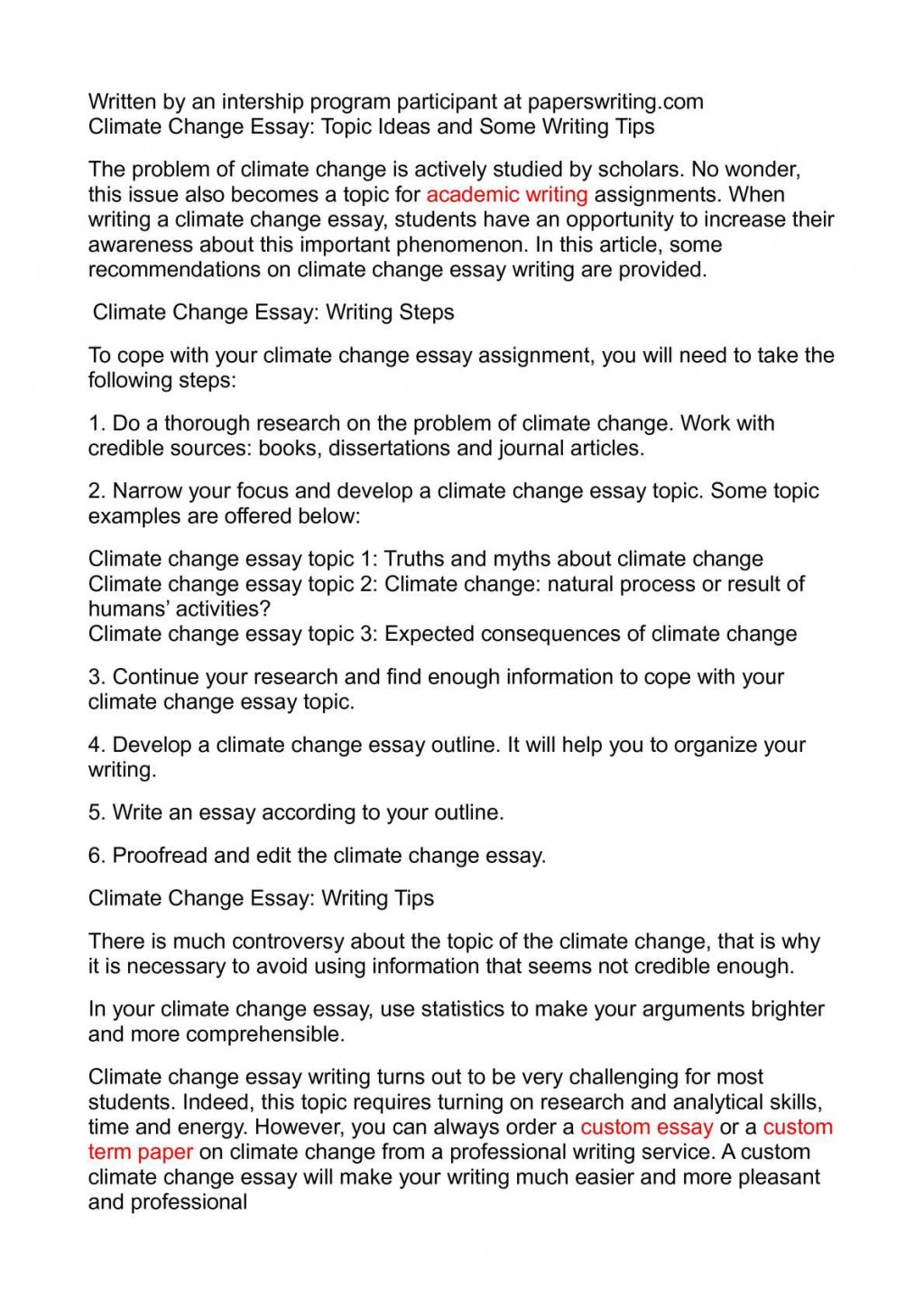 012 Climate Change Essay Topics Uncategorized Global Warming Topic Ways To St Oracleboss Research Paper20 Paper Unusual Ideas For High School Good Large