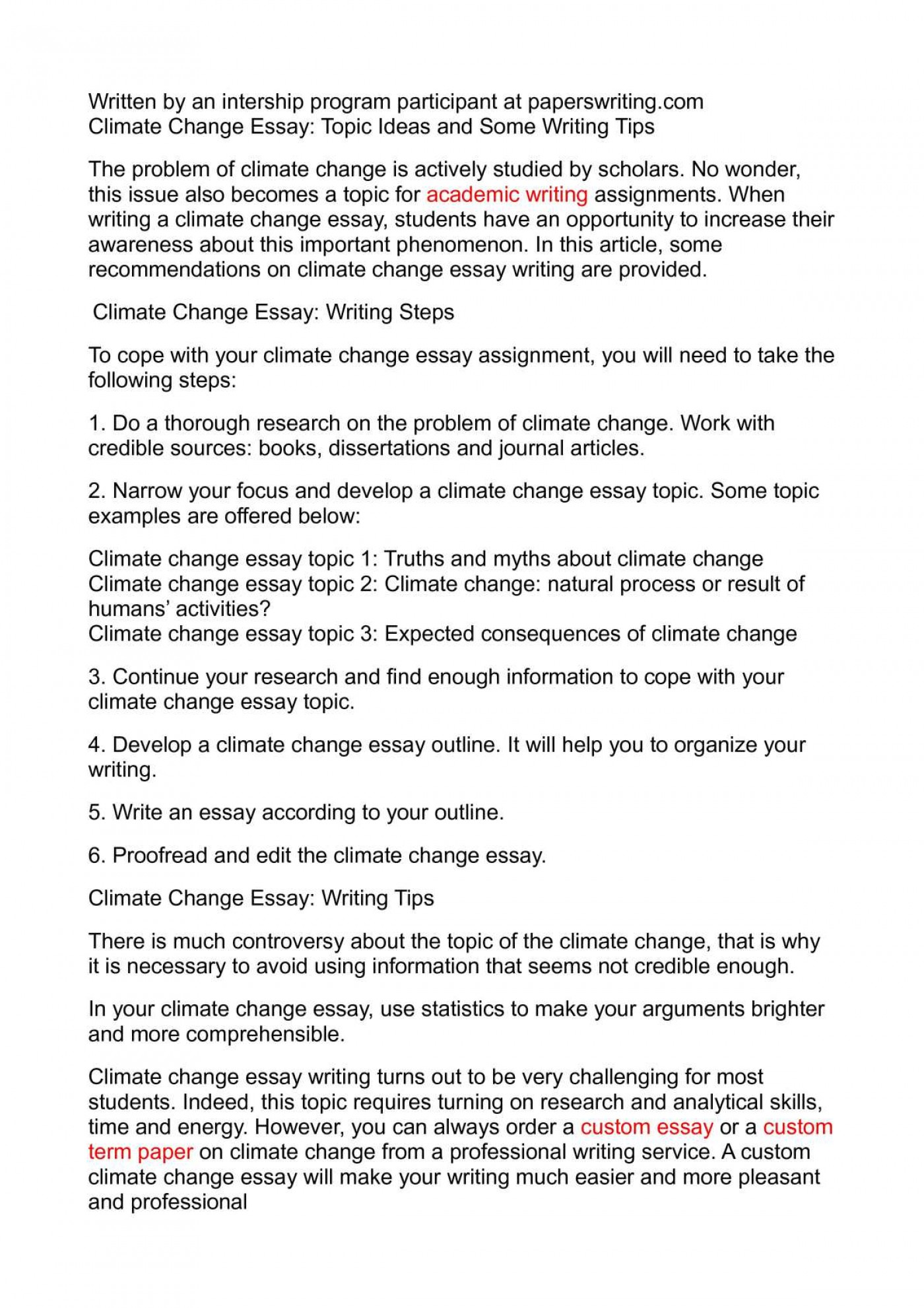 012 Climate Change Essay Topics Uncategorized Global Warming Topic Ways To St Oracleboss Research Paper20 Paper Unusual Ideas For High School Good 1400