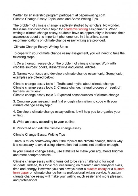 012 Climate Change Essay Topics Uncategorized Global Warming Topic Ways To St Oracleboss Research Paper20 Paper Unusual Ideas For High School Good 480