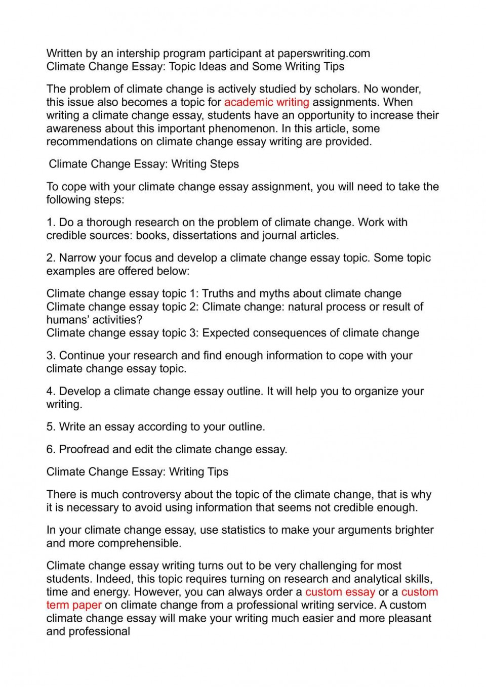012 Climate Change Essay Topics Uncategorized Global Warming Topic Ways To St Oracleboss Research Paper20 Paper Unusual Ideas For High School Good 960