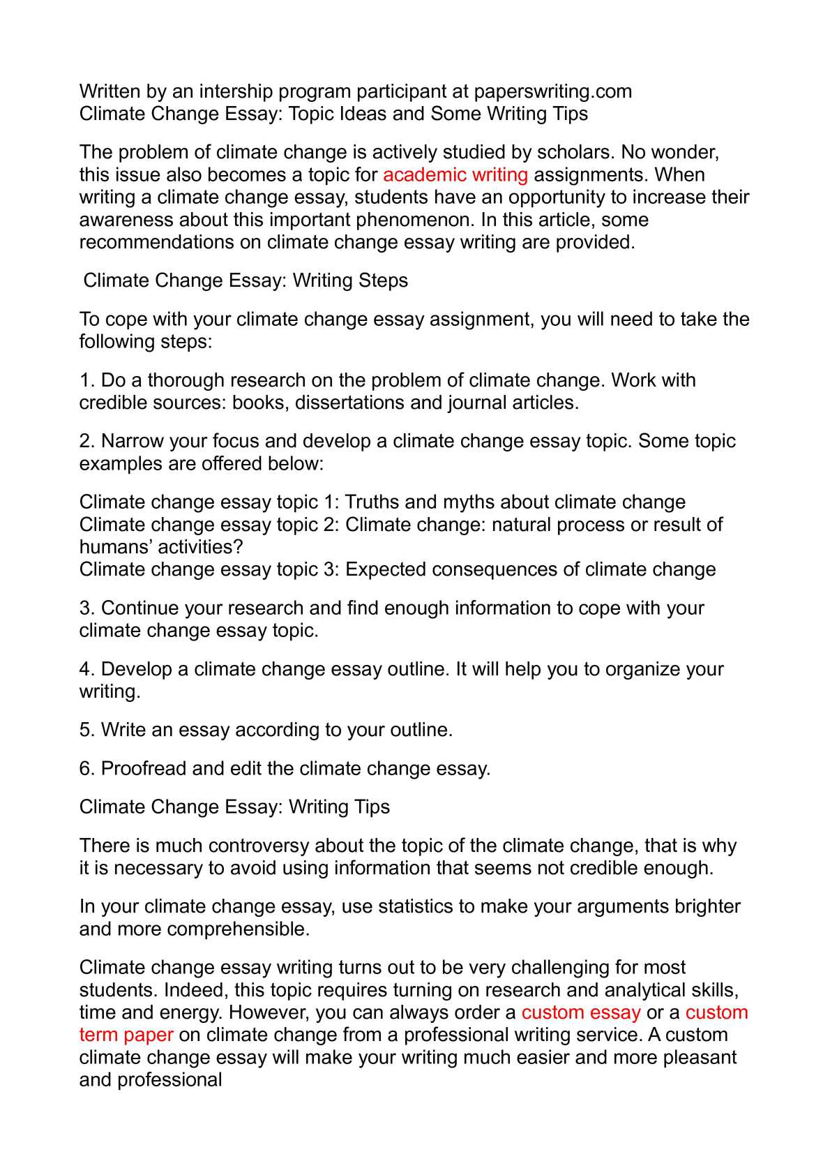 012 Climate Change Essay Topics Uncategorized Global Warming Topic Ways To St Oracleboss Research Paper20 Paper Unusual Ideas For High School Good Full