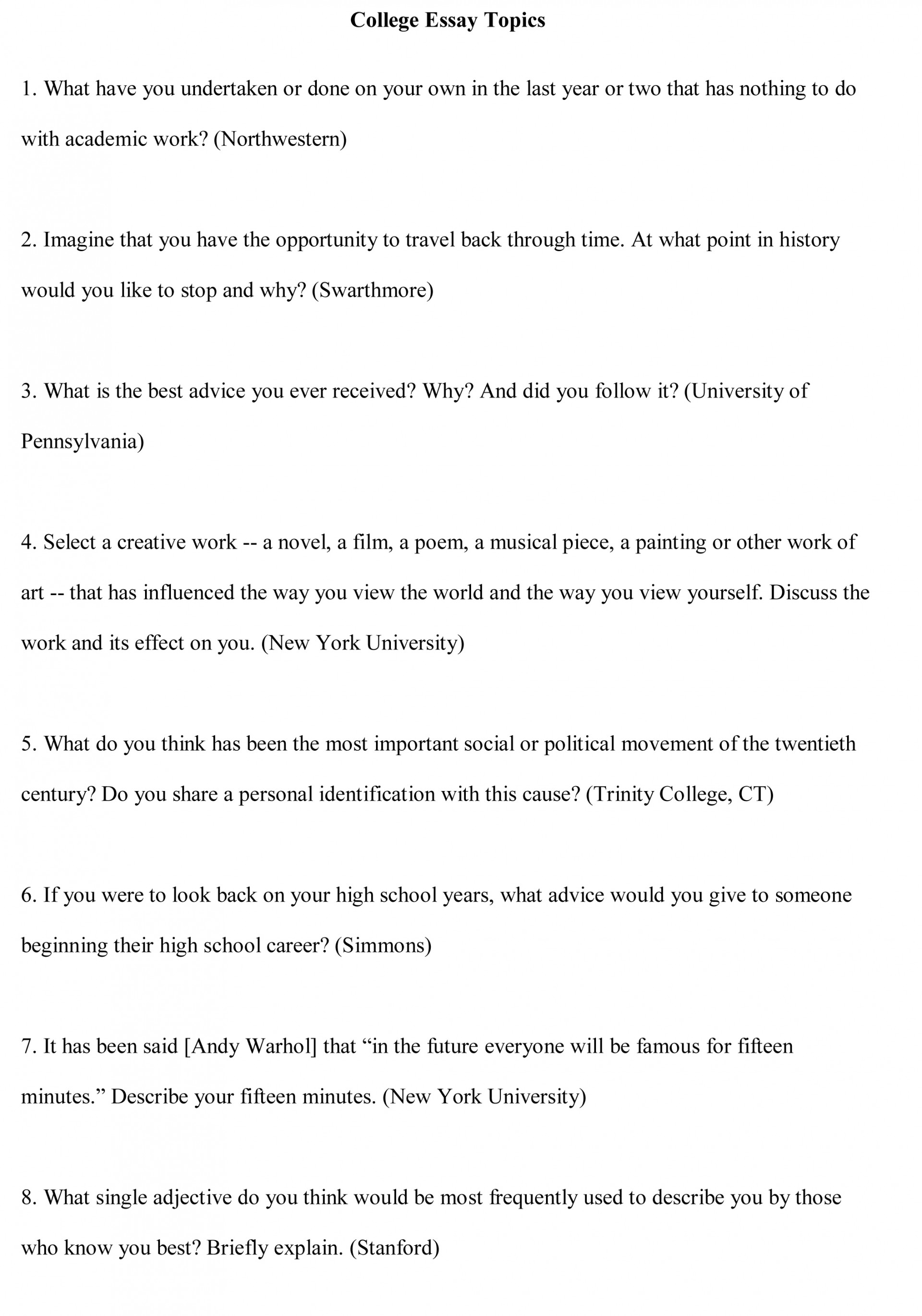 012 College Essay Topics Free Sample1 Research Paper Medical Awful Papers Best Ethics For High School Students 1920