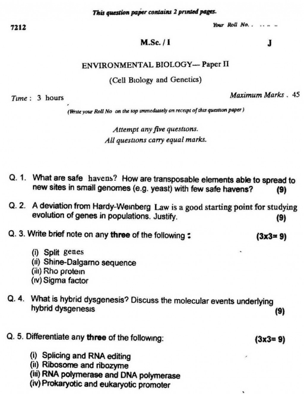 012 Delhi University M Sc Environmental Biology 1st Year Previous Years Question Pap Research Paper Surprising Topics Large