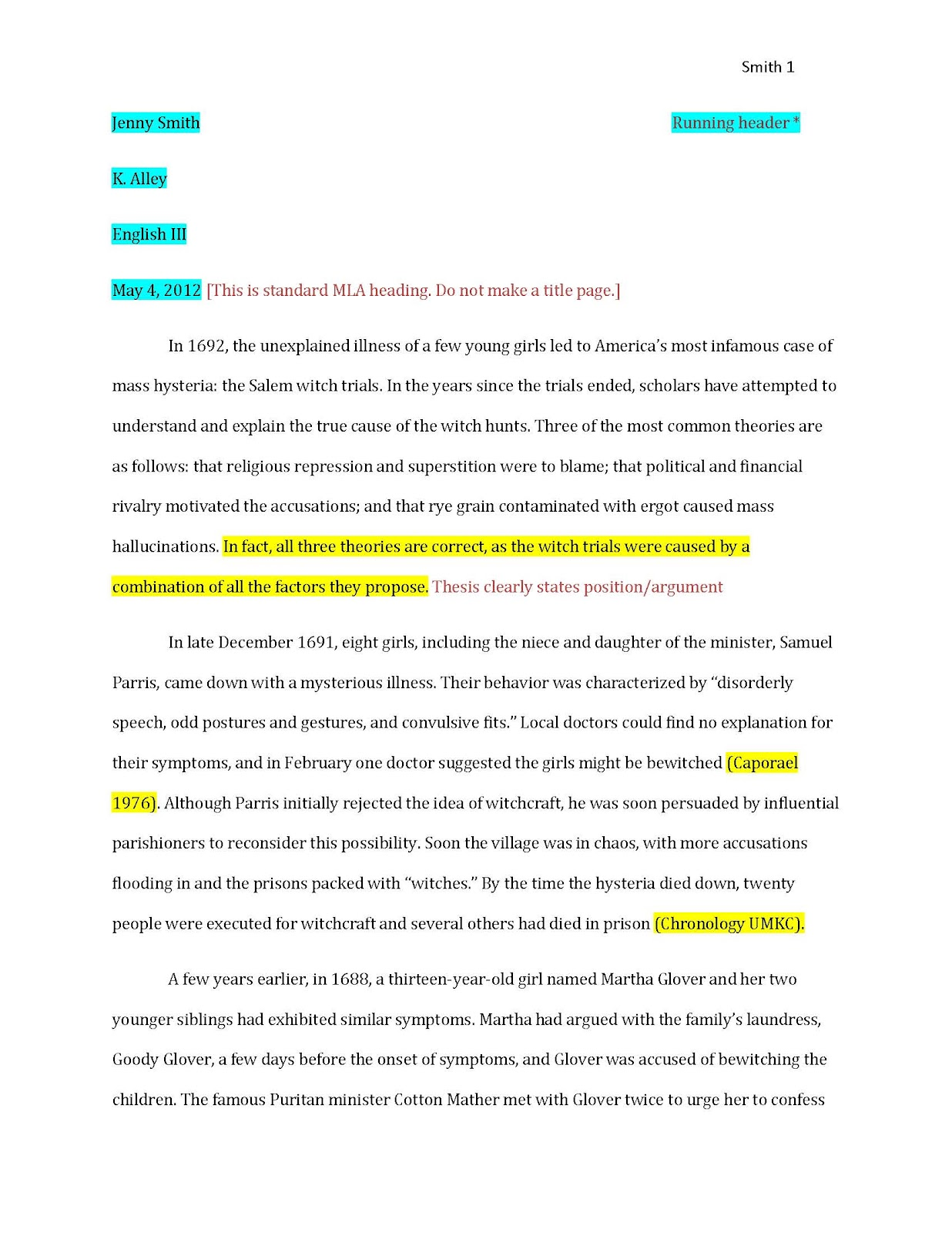 012 Examplepaper Page 1 Research Paper Mla Citations In Striking Examples Full