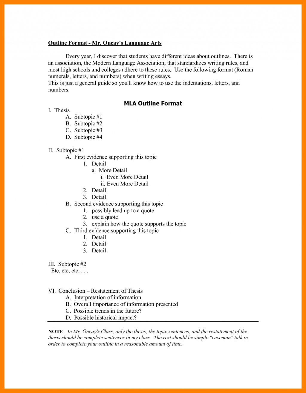 012 High School Outlinemat Mla Research Paper Example Of Examples Incredible Format For Outline Sample Sentence Thesis Statement Large