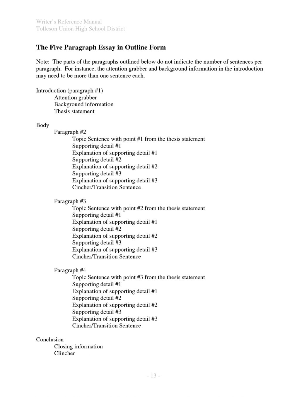 Health Essay Sample  Thesis Statement For Process Essay also Essay Writing Topics For High School Students  Introduction To Research Paper Outline An For  Example Essay Thesis