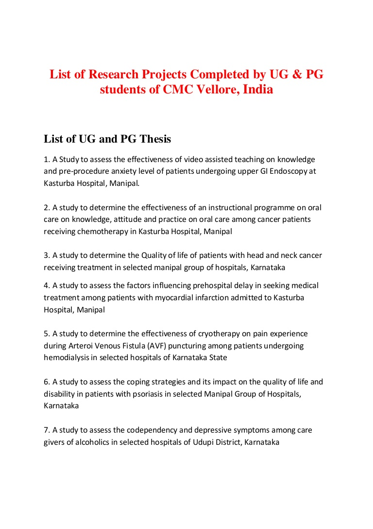 012 Listofresearchprojectscmcvellore Phpapp01 Thumbnail Cancer Research Paper Shocking Ideas Topic Breast Full