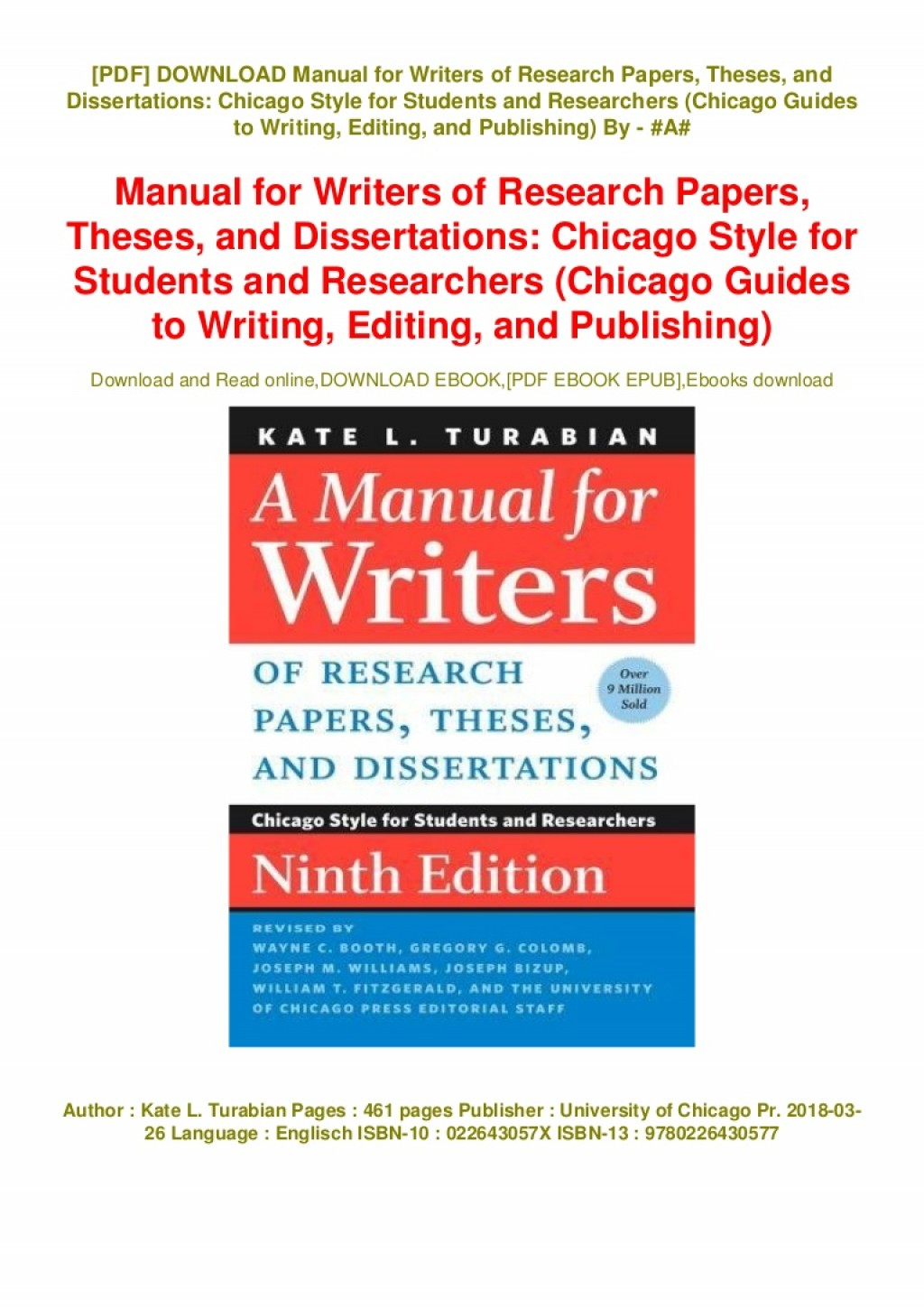012 Manualr Writers Of Research Papers Theses And Dissertations Chicago Style Students Paper Download Rare A Manual For Large