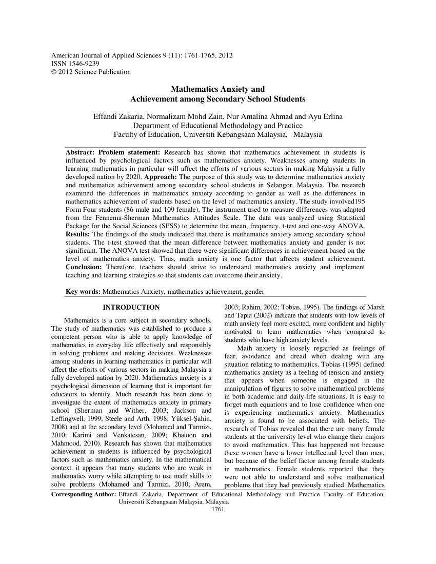 Anxiety research paper