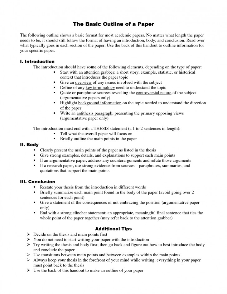 012 Outline For Research Unbelievable Paper Sample Topical Example How To Do An A Mla Style 728