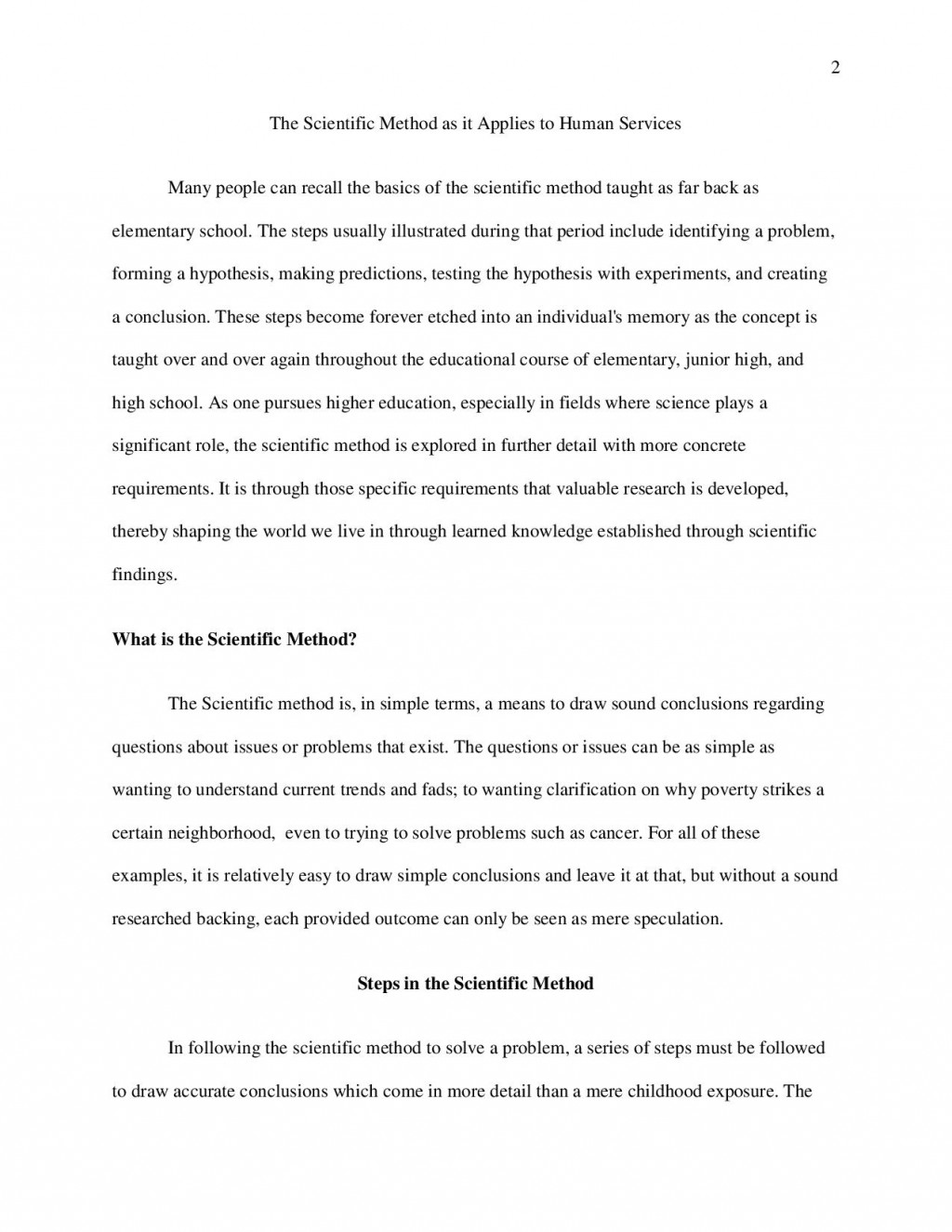 012 Research Paper Bshs2043520week120paper20a Page Methods Unique Outline Scientific Method Large